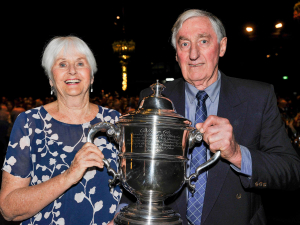 Bill Thorpe and wife Margaret with the Bledisloe Cup.