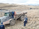Police officers remove protestors from the Mackenzie Basin farm.
