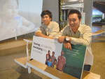 Visiting Indonesian farmers Septian Jasiah Wijaya (right) and Egi Giantara at Fonterra head office last month.