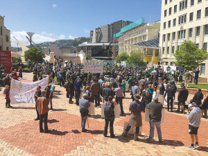 About 1000 farmers and rural people assemble in Wellington's civic square before marching to parliament.