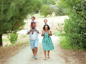Yannick and Philippa Fourbet and their twin boys. Photo: Rachael McKenna.