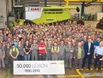 The Claas team celebrate the 50,000th Lexion combine harvester rolling off the production line.
