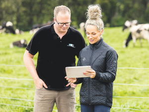Matamata Veterinary Services dairy vet Grant Fraser and Bayer NZ North Island territory manager Stacey Waters.