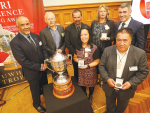 The finalists of the Ahuwhenua Trophy BNZ Maori Excellence in Farming Award at Parliament, Wellington, late last month. Photo by John Cowpland / alphapix.