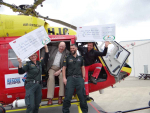 More than $30,000 has been handed over by Rural Contractors NZ to St John and the Nelson Marlborough Helicopter Rescue Trust. Celebrating the handover are Debbie Clark and Brendan Morton from St John Nelson area, RCNZ CEO Roger Parton and rescue helicopter pilot Barry McAuliffe.