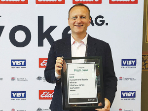 Matt Jones, of Christchurch company CertusBio, with the pitch tent winner's certificate at the inaugural EvokeAg event in Melbourne in February. Image: SUPPLIED.