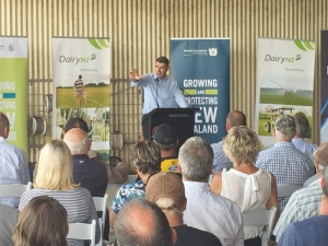 Nathan Guy addresses farmers at the launch last week in Morrinsville.