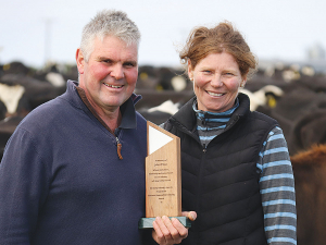 Damian and Jane Roper were recently awarded the Fonterra Responsible Dairy Award and picked up the John Wilson Memorial Trophy.