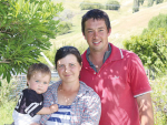 Central Hawkes Bay farmer Sam Clark, his wife Gudrun ('Cookie') and baby Archie.