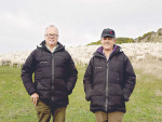 Shareholders Tim Chamberlain (left) and Andrew Heard are opening up Mt Cass Station on 20 November to allow farmers to see how no-shear Wiltshires perform in a low-input environment.