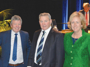 A lot of work to do: Fonterra chairman John Monaghan flanked by re-elected directors Donna Smit and Andy Macfarlane following the co-op's annual meeting earlier this month.