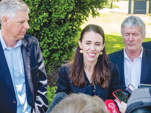Primary Sector Council chair Lain Jager, Prime Minister Jacinda Ardern and Agriculture Minister Damien O'Connor front the media following the launch of the Primary Sector Council's 'Fit for a Better World' vision, at Lincoln University late last year. Photo: Rural News Group.