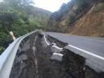 Major quake damage on a Northern South Island road after November's earthquake. Photo: @HenryMcMullan on Twitter.