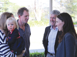 PM Jacinda Ardern and Damien O'Connor launching the Mycoplasma bovis recovery package at Julie and Bruce Stevenson's Wairarapa farm after they were cleared of M. bovis and had restocked. – Photo Supplied