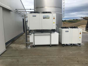 The milk cooling system at Luxmore Farm, Southland, was completed by Cowley Electrical Dairy and Pumps recently. It has two Tank chiller units - one connected to the base of the tank and the other to the side wall.