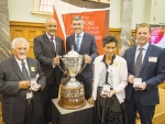 Applauding farming excellence (from left): James Russell, chairman of Rakaia Incorporation; Te Ururoa Flavell; Nathan Guy; Tuhi Watkinson, chair, Tewi Trust; and Andrew Priest, chief executive Ngai Tahu Farming at the presentation of medals for the three finalists at parliament.