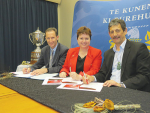 Pro vice-chancellor Professor Ray Geor, vice-chancellor Professor Jan Thomas and Ahuwhenua Trophy management committee chairman Kingi Smiler sign the sponsorship agreement.