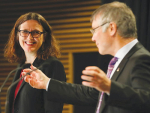 EU Trade Commissioner Cecilia Malmstrom and NZ Trade Minister David Parker address the media following the beginning of negotiations on a free trade deal between NZ and the EU in Wellington earlier this month. Photo: Alphapix / John Cowpland