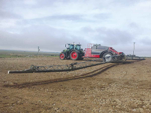 The Turley's trailed Horsch Leeb GS sprayer with 6,000-litre capacity and 36m booms in action.
