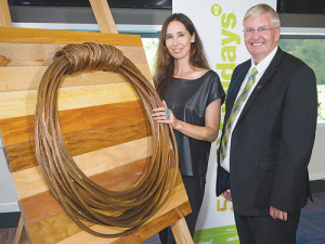 Designer Cherise Thomson and Fieldays chief executive Peter Nation at the launch.