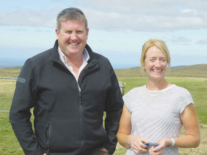 Former Ravensdown colleagues Jane Smith, of Newhaven Farms, and Justin Geary of NZ Farm Management, during the Action Group's farm visit.