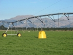 The HydroFix Irrigator Stabiliser System consists of a series of inflatable water tanks connected to a pulley and counterweight systems along the length of an irrigator.