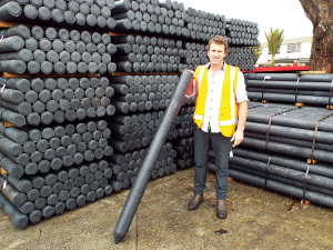 Jerome Wenzlick at the Waiuku plastic post factory.