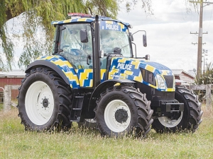 Police branded tractor.
