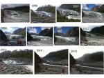 The changes due to warming temperatures at Fox Glacier between 2005 and 2015.