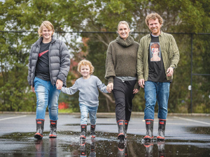 The Jack family from left to right Ethan, Nixon, Melissa and Dave with their Reb Band gumboots.