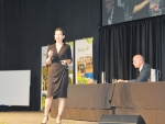 Fonterra executive Jacqueline Chow addresses farmers at the recent DairyNZ Farmers Forum while chief executive Theo Spierings looks on.