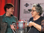 Governor General, Dame Patsy Reddy (left) with Moyra Bramley, chairwoman of the Onuku Māori Lands Trust.