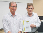 "Dr Bert Quin (right) receiving his Life Membership of the NZ Soil Science Society late last year, for ""Distinguished Service to Soil Science""."