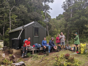 Fabian with his family on Stewart Island last month.