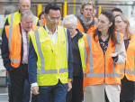 Prime Minister Jacinda Adern on a tour of Miraka with director Steve Murray and guests.