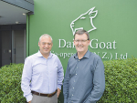 Dairy Goat Cooperative new chief executive David Hemara (left) with his predecessor Tony Giles.