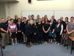 Emma Higgins, Analyst at Rabobank, with the Massey students at their latest RMN meeting.