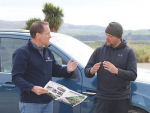 Scott Ruby (left), World Wide Sires, discusses genetics with North Otago farmer Nathan Bayne.