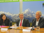 Prime Minister Jacinda Ardern, Agriculture Minister Damien O'Connor and DairyNZ chair Jim van der Poel addressing the media conference at Federated Farmers headquarters in Wellington last week that outlined the joint industry-government decision to go for a phased eradication of the cattle disease Mycoplasma bovis.