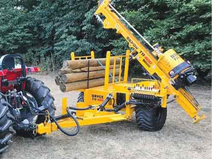 Bryce Suma's TR 400 post driver can be used on small or even 'elderly' tractors.