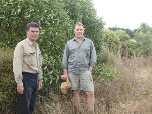 Arable farmer John Evans (left) and forestry and native plant consultant Steve Brailsford at a Better Biodiversity planting site on Evans' farm at Dorie, near Rakaia. Photo: Rural News Group