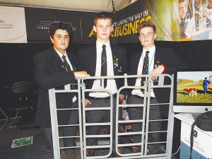 Sanraj Dhaliwal, Daniel Pearse and Douwe de Boer , St Pauls Collegiate School, with their quad trailer rear gate.