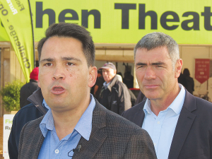 National leader Simon Bridges and agriculture spokesman Nathan Guy.
