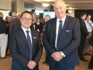 Outgoing chairman Alan Lai and deputy chairman Trevor Burt at the PGW annual meeting in Christchurch. Rural News Group