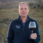 Rudi Bauer with Riedel's Central Otago Pinot Noir glass.