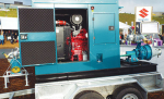 Portable skid unit for powering pumps.