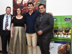 Geoff Allott, QualityNZ CEO; Joanna Kempkers, NZ's High Commissioner in India; Stephen Fleming, QualityNZ shareholder/Ambassador; Divye Kalra, QualityNZ Private Ltd - GM India.