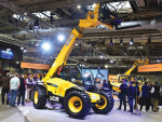 JCB shows off its new agricultural Loadall in the UK.