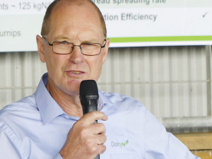 DairyNZ science manager David McCall speaks at the launch of the Meeting a Sustainable Future project on the Canlac Holdings farm at Dunsandel. Photo: Rural News Group.